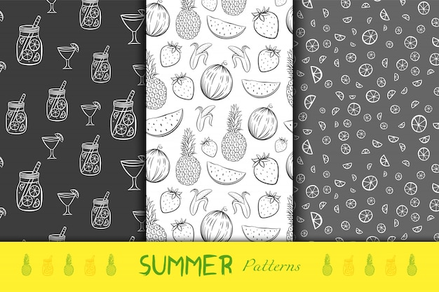 Summer fruits black and white seamless backgrounds