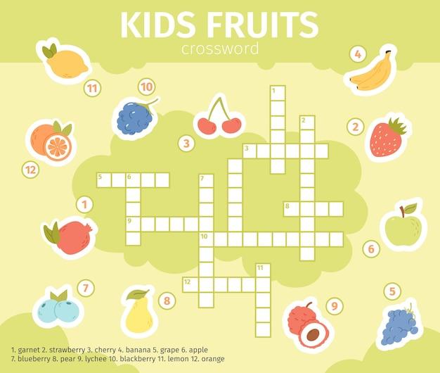 여름 과일 크로스 워드 퍼즐. 레몬, 사과, 포도, 오렌지 과일 벡터 삽화가 있는 교육용 크로스워드 키즈 게임. 아이들을 위한 과일 낱말퍼즐. 크로스 워드 퍼즐 과일, 교육 퀴즈