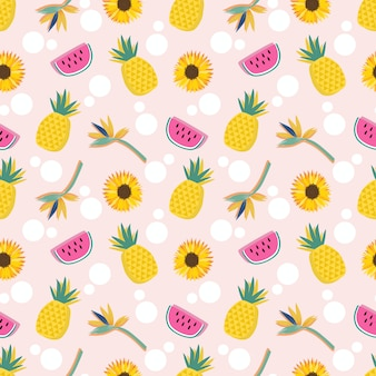Summer fruits and flower seamless pattern