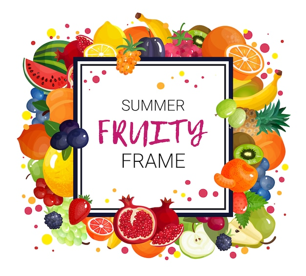 Summer fruits frame background