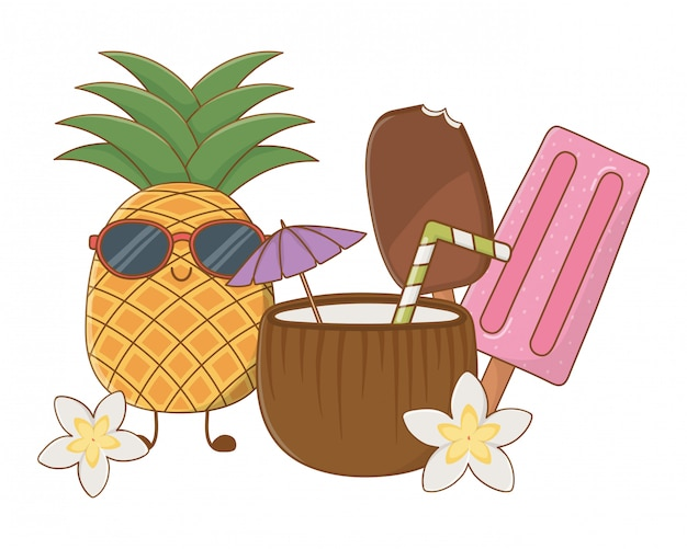 Summer and fruits funny cartoons