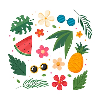 Summer fruits, leaves and flowers, elements collection. vector illustration in flat style