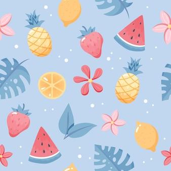 夏の果物のパターン。かわいいスイカ、パイナップル、レモン、葉。手描きのフラットな漫画の要素。ベクトルイラスト