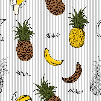 Summer fruits pineapple and bananas seamless pattern