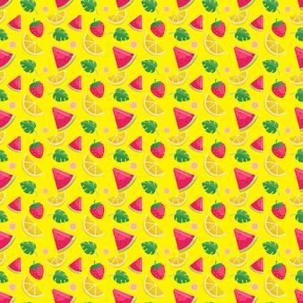 Summer fruits seamless pattern template background