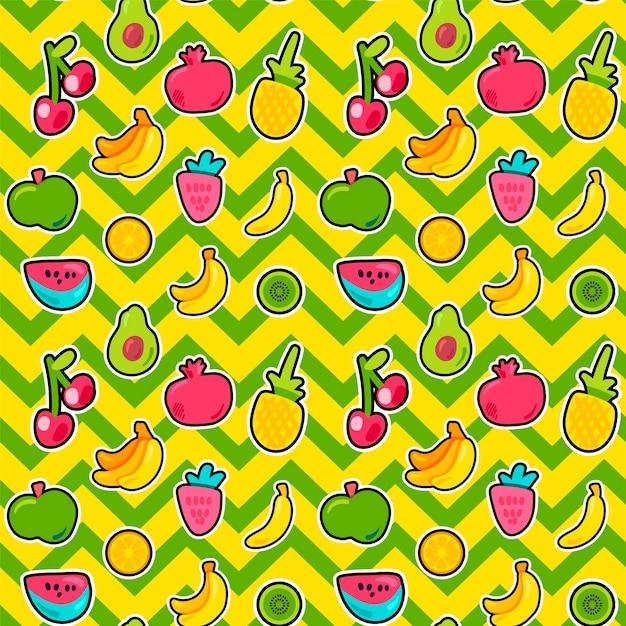 여름 과일 벡터 완벽 한 패턴입니다. 밝은 지그재그 배경에 열대 과일, 달콤한 열매