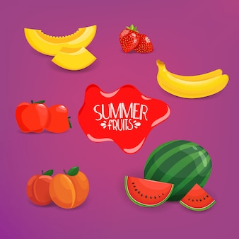 夏の果物ベクトル紫色の背景に設定