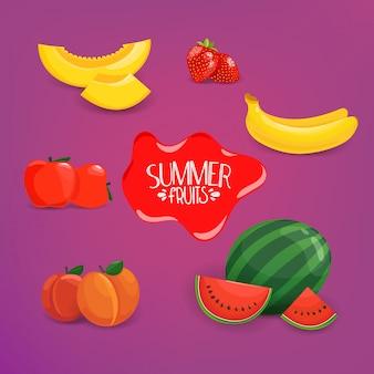 Summer fruits vector set on violet background