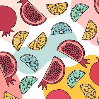 Летний фруктовый узор в стиле