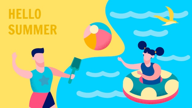 Summer fun for kids postcard flat vector template