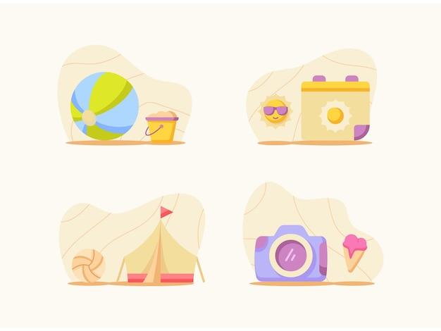 Пакет летних забавных наборов с цветным мультяшным плоским стилем