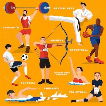 Летняя игровая спортивная коллекция в плоском стиле