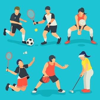 플랫 스타일의 여름 게임 이벤트 스포츠 컬렉션