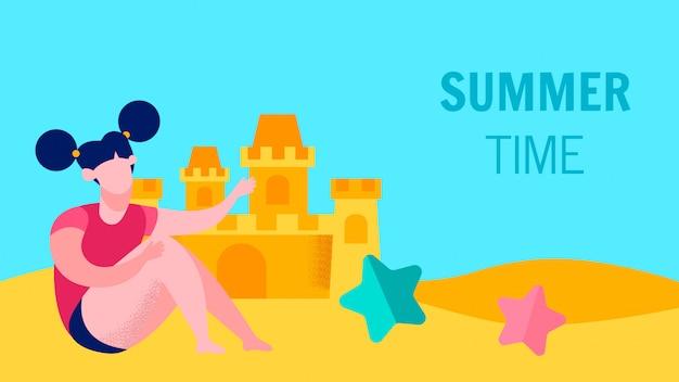 Summer games for children flat banner template
