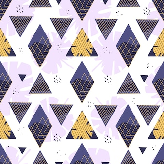 Summer geometric pattern with rhombuses, triangles and leaves. illustration.