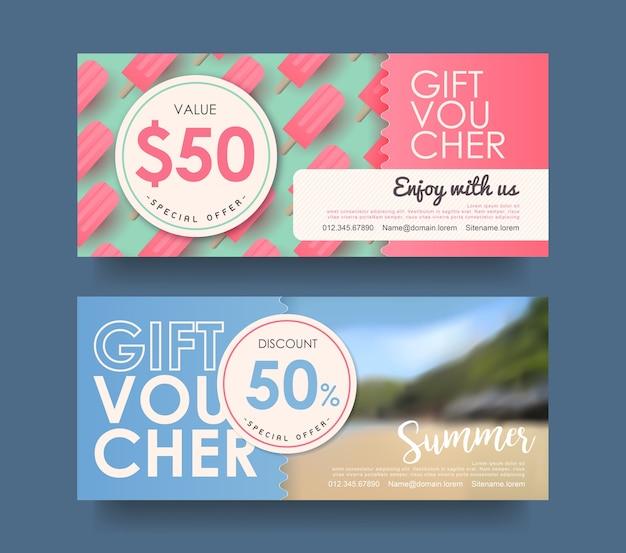 Summer gift voucher discount template