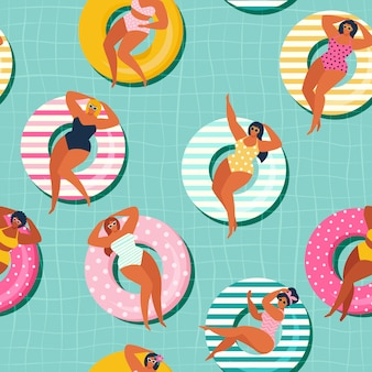 Summer gils on inflatable in swimming pool floats. vector seamless pattern.