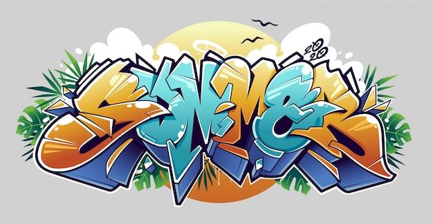 Летние граффити надписи