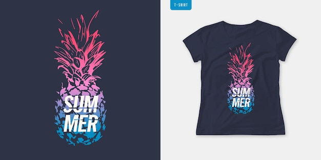 Summer graphic womens tee with pineapple