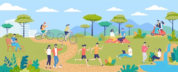 夏の緑の都市公園と人々の群衆の漫画のベクトル図