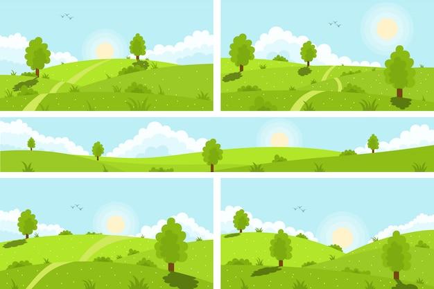 夏の緑の丘、牧草地、フィールド、白い雲と青い空。風光明媚な緑の丘自然空地平線草原草原農村地農業草地。春の風景バナー。