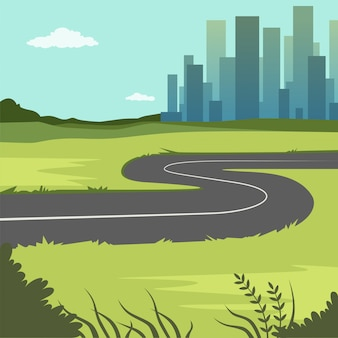 Summer green landscape with road and city buildings, road through the countryside into the city, nature background   illustration