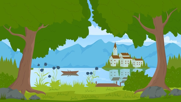 Summer green nature landscape with town on lake island castle or church and mountains