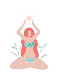 여름 연하장 수영복을 입은 긴 머리 소녀는 연꽃 위치에 앉아 그녀의 팔에 태양을 안고 있습니다