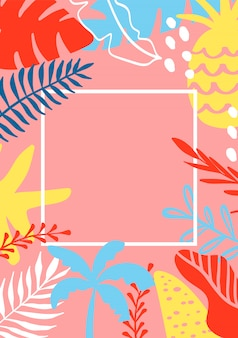 Summer greeting card template with tropical leaves