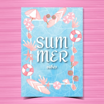 Summer greeting card with beach elements