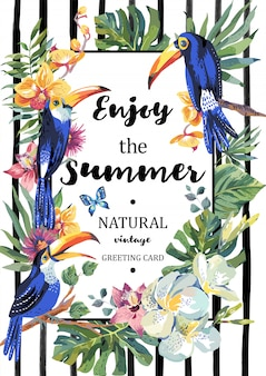 Summer greeting card with pair of toucan and exotic flowers