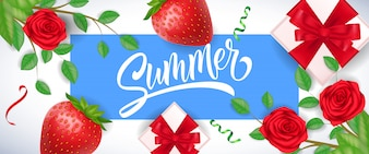 Summer greeting in blue frame with strawberries, roses and gift boxes