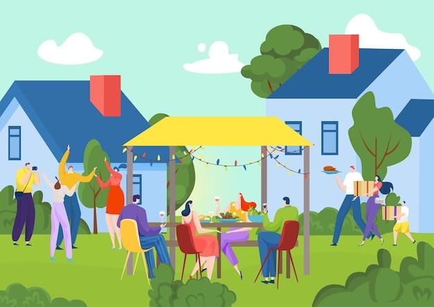 정원 자연에서 여름 그릴 파티