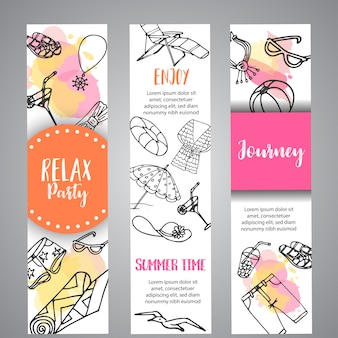 Summer hand drawn banner. beach doodle elements