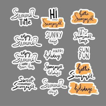 Summer hand drawn brush letterings. summer typography - summer time, sun fun, happy holidays, party, sale, beach party, hello summe