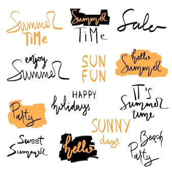 Summer hand drawn brush letterings. summer typography - summer time, sun fun, happy holidays, party, sale, beach party, hello summer.