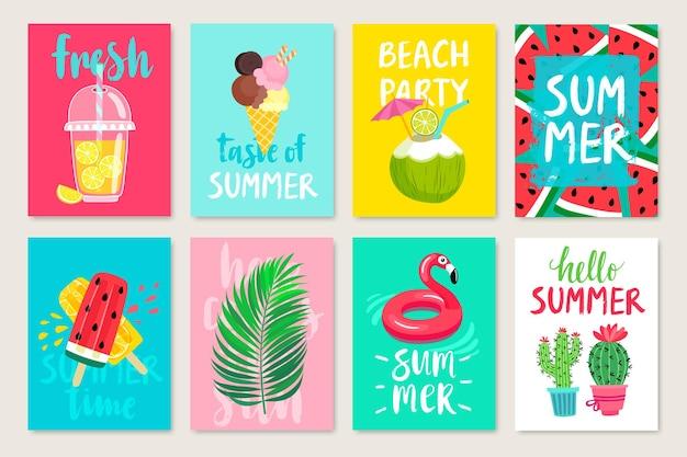 フルーツ カクテル アイスクリーム入り夏の手描きの書道カード