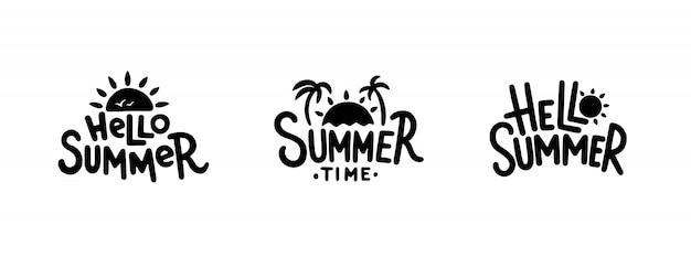 여름 손으로 그린 삽화