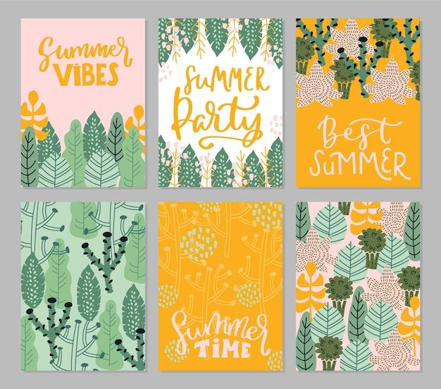 여름 손으로 그린 글자 비문 견적 카드 잎 세트