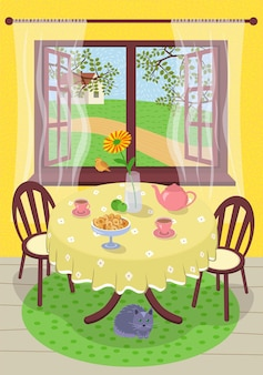 Summer hand drawn vector poster calm comfortable rest village home. cozy summertime tea in interior country house. teapot, cups and flower in vase on table. foliage, lawn grass and path outside window