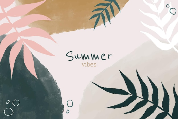Summer hand painted style abstract leaves background design
