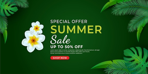 Summer handwriting lettering inscription with tropical leaves monstera