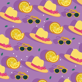 Summer hats oranges and glasses background