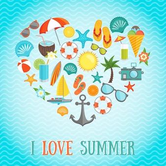 Summer heart illustration