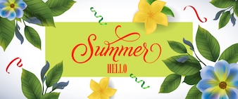 Summer hello lettering in green frame blue and yellow flowers and confetti