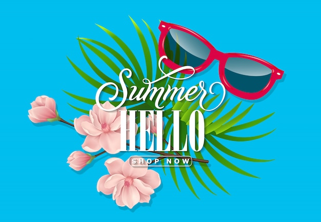 Summer hello今すぐ手紙を書く。青い背景、熱帯の葉、サングラス
