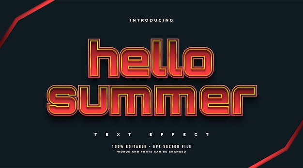Summer hello text in bold red style. editable text style effect