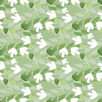 Summer herbal leaves seamless pattern on green.
