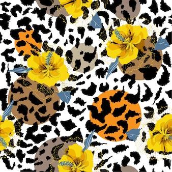 Summer hibiscus seamless pattern