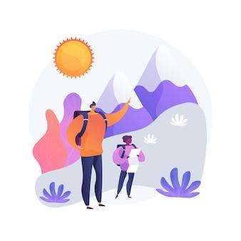 夏のハイキングツアー。マウンテントレッキング、アウトドアアクティビティ、家族での休暇。父と息子、自然環境を探索する地図を持つハイカー。